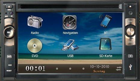 2-DIN función manos libres para coche con sistema de navegación GPS de cine de DVD o CD Audio MP3 MP4 TV televisor con pantalla táctil (15,24 cm) para VW Seat Hyundai Nissan: