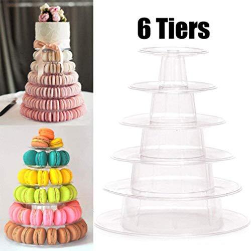 Macaron Cupcake Stand, 6 Tier Cupcake Tower Holder Tiered Serving Stand Cupcake Tower Wedding Display Stand Clear Cupcake Dessert Stands for Wedding Birthday Party -