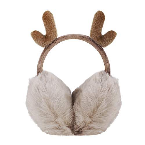 Lovely Reindeer Antlers Foldable Earmuffs, Women Girls Cozy