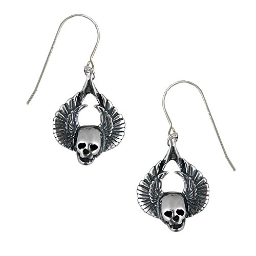 Sterling Silver Winged Skull Drop Dangle Earrings