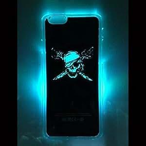 patrón huesos cruz estuche rígido, con la luz del flash de llamada para el iphone 6