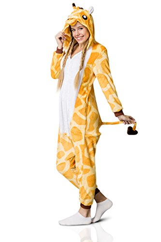 Nothing But Love Adult Giraffe Onesie Pajamas Kigurumi Animal Cosplay Costume One Piece Fleece Pjs (M, Yellow, White) by Nothing But Love (Image #7)