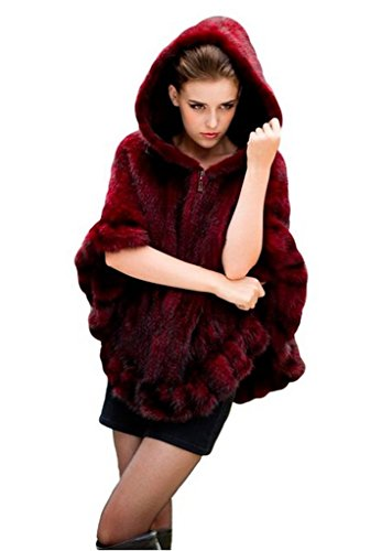 YR.Lover Women's Real Mink Fur Zipper Cape Cloak Poncho Shawl With Hooded (Coat Red Farm)