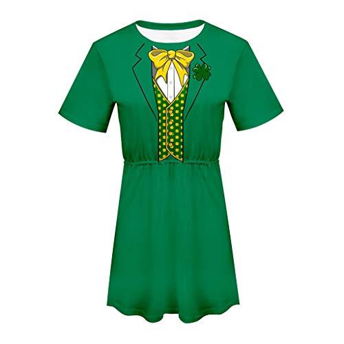 LUCA Women Ladies Short Sleeve Dress Green Short Sleeve O Neck Printing Dress for ST. Patrick's -