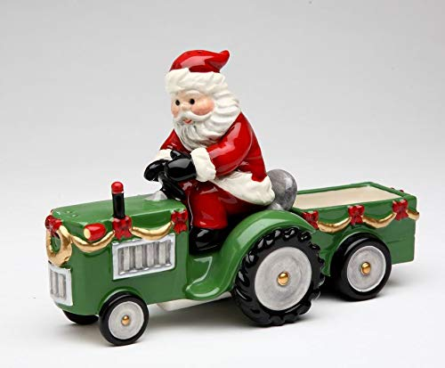 Fine Ceramic Santa Riding Tractor Salt & Pepper Shakers with Sugar Packet Holder Cart Set of 3, 4 1/2