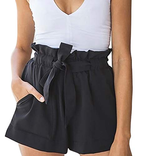 Polo Shorts Pants for Women,Women Pure Color Pocket High Waist Bandage Easy Elastic Casual Short Pants,Black,XXL