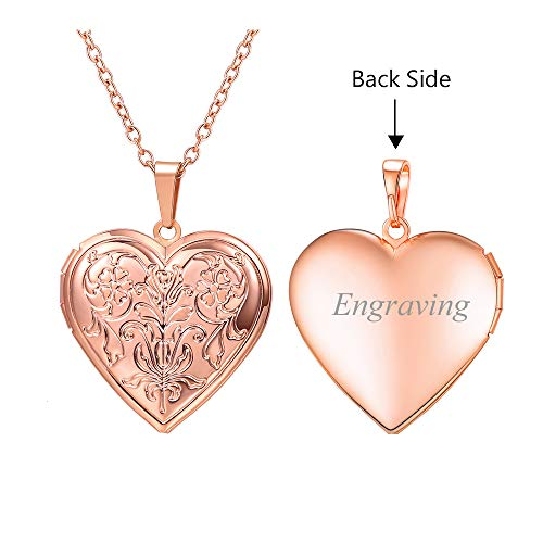 U7 Charm Necklace Flower/Cross Pattern Platinum/Rose Gold/18K Gold Plated Locket Pendant with 22 Inches Chain, 4 Styles (B.Rose Gold Flower Pattern(Personalized)) ()