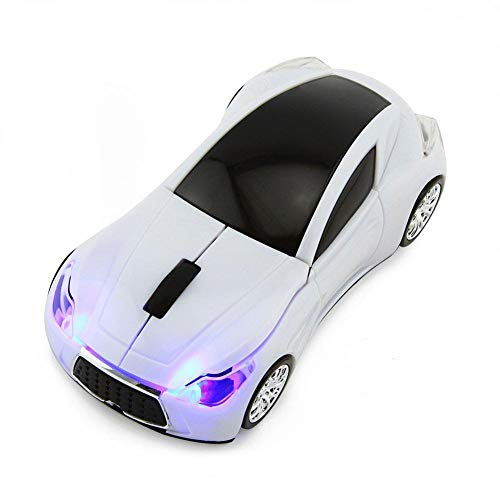 CHUYI Cool Sports 3D Car Shaped Wireless Optical Mouse 1600DPI 3 Button Ergonomic Gaming Office Mice with USB Receiver for Travel Business School Home Gift (White)