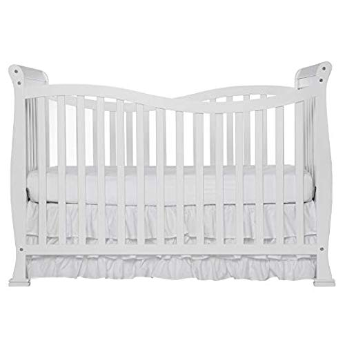 Dream On Me Violet 7 in 1 Convertible Life Style Crib, White with Spring Crib and Toddler Bed Mattress, Twilight