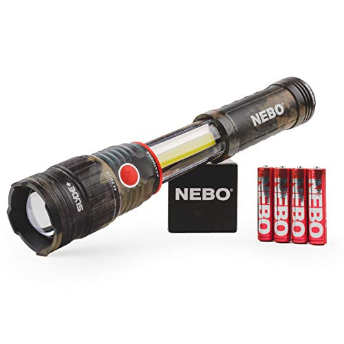 400-Lumen Handheld Work Light Flashlight: Chip on Board (COB) Technology; Red Light Mode and Red Flashing Light Mode; 4x Adjustable Zoom with Magnetic Base - NEBO Slyde+ 400 Camo - 6797