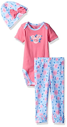 Gerber Baby Girls' 3-Piece Bodysuit, Legging and Cap Set, Roses, 3-6 ()