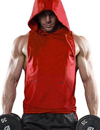 Daupanzees Men Workout Hooded Tank Tops Comfortable Gym Athletics Sleeveless T-Shirt (Red L) (Dad As Best Man)