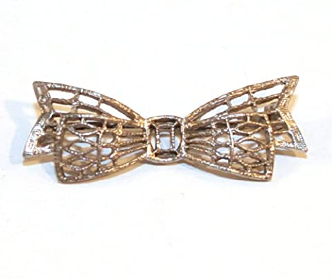 Vintage Pierced Filigree Bow Shaped Sterling Silver Estate Brooch Pin - Sterling Silver Bow Brooch