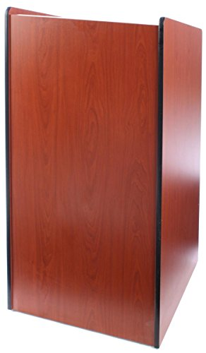 Adjustable Speaker Podium Lectern - Displays2go Speaker Podium with Locking Doors and Hidden Wheels, Adjustable Shelf (LCT4502DC)