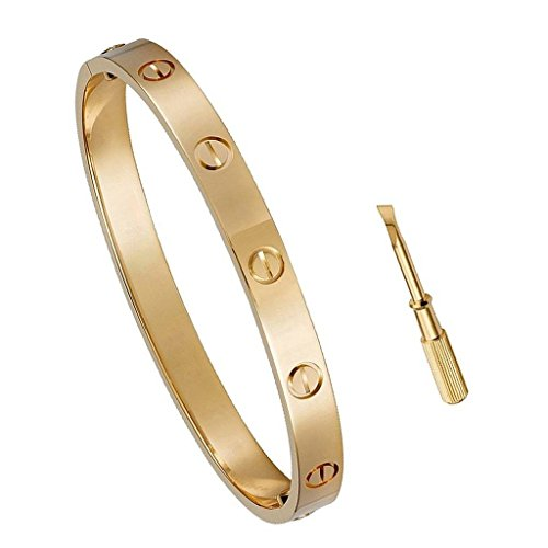 Y.S.M.Y Birthday Gift for Her Love Bracelet- Titanium Steel Screw Hinged Cuff Bangle Bracelet Rose Gold (Stainless Steel Hinged Bangle)