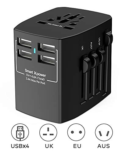 Xcentz Universal Travel Adapter, 4 USB Ports 4.8A Wall Charger Power Adapter AC Plug Adapter, 2000W High Power All in One Travel Adapter for USA EU UK AUS European Cell Phone Tablet Laptop