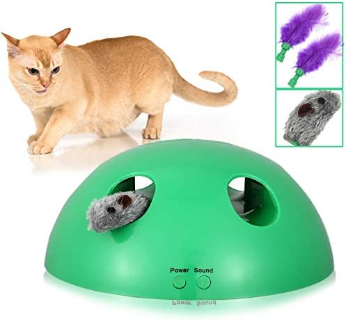 Shydie Cat Interactive Motion Toys, Cat Feather Mice Teaser Toys with Smart Electronic Random Moving Feather and Mouse, Newest Cat Teaser Toys for Cats and Kittens, Best Gift 2