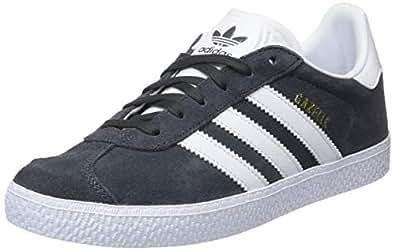 adidas, Gazelle Shoes, Kids Shoes, Grey/White/Gold Metallic, 1 US