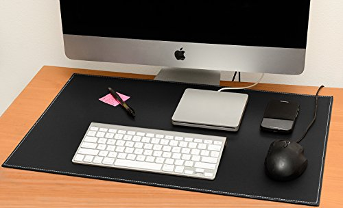 Computer Leather Desk Pad, Stylish Mat Cover, Reversible Color Design Black To White, 16x24 Inches