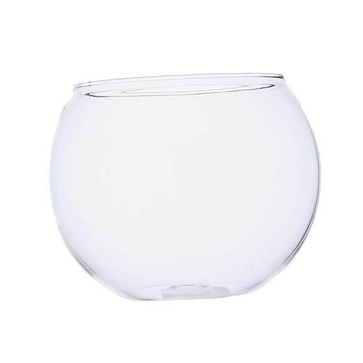 MagiDeal Vaso De Vidrio Transparente Ronda Tanque De Peces Bola Tazón Planta De Flores Terrario Decoración para Hogar Oficina: Amazon.es: Hogar
