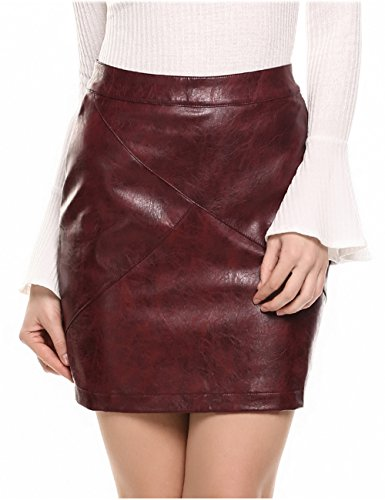 Zeagoo Women Basic Versatile Faux Leather Bodycon Slim High Waisted Pencil Skirts Wine Red S