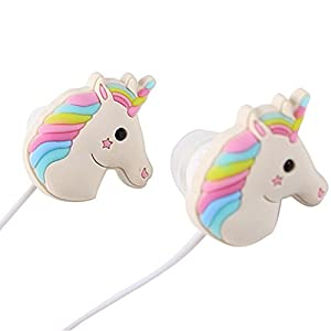 QearFun in Ear Wired 3.5 mm 3D Cute Cartoon Animal Unicorn Earphone/Earbuds/Headphones with Mic Hands-Free for iOS…