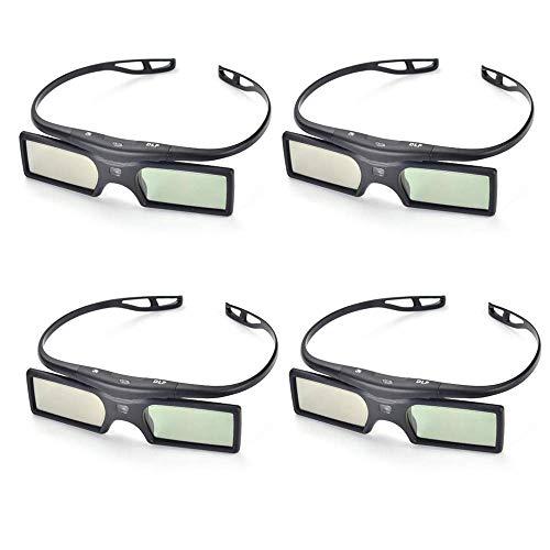 PERGEAR 4xG15-DLP 144Hz 3D DLP-Link Active Glasses for Optoma/BenQ/Acer/LG Projector (Best 144hz 3d Glasses)