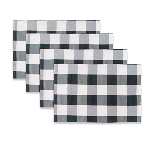(NATUS WEAVER Black & White 2 Side Buffalo Check Placemats Set of 4 Heat Resistant Dining Table Place Mats for Kitchen Table, 12 x 18 inches)