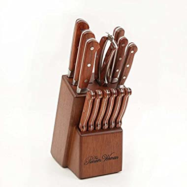 The Pioneer Woman Cowboy Rustic Forged 14-Piece Cutlery Set, Red Rosewood Handles