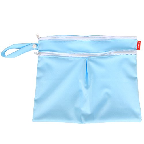 Damero 2pcs / pack linda del recorrido del bebé seco y húmedo pañal de tela Organizador Bolsa--Pequeña(Verde+azul Chevron) Azul+Árbol