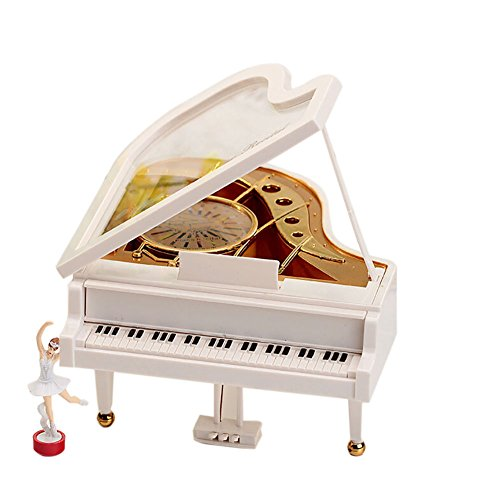 Balai Mechanical Classical Ballerina Girl Dancing on the Piano Music Box Classical Desk Decor