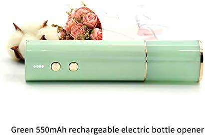 Porcyco Abridor de Vino Eléctrico de Acero Inoxidable, Abridor de Botellas Automático con Una Luz Indicadora de Batería Elegante para El Abridor de La Botella de Vino-Verde
