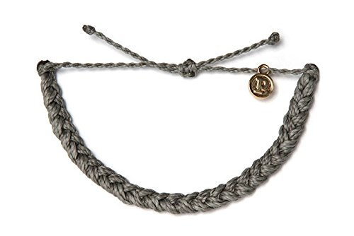 Pura Vida Bracelets Dark Grey Braided Bracelet Handmade  Waterproof w/ Gold-Coated Copper Charm