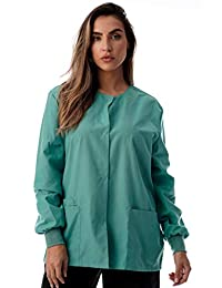 JUST LOVE Womens Solid Medical Scrub Jacket Nurse Uniform Lab Coat