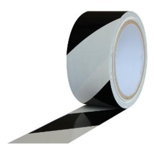 Safety Warning Vinyl Tape, Black and White, 2 Inches Wide x 18 yds (Case of 24)