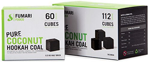 FUMARI Fuoco Pure Coconut Charcoal Supplies for HOOKAHS112pc Non Quick Light Shisha coals for Hookah Pipes. All Natural Coal Accessories & Parts That are Tasteless, Odorless, Chemical Free (112)