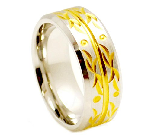 - 9mm - Man or Ladies - Cobalt Center Yellow Gold Plated Carved Floral Design Wedding Band Ring