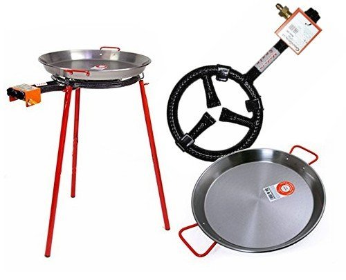 Paella Pan + Paella Burner and Stand Set - Complete Paella Kit for up to 7 Servings by Garcima