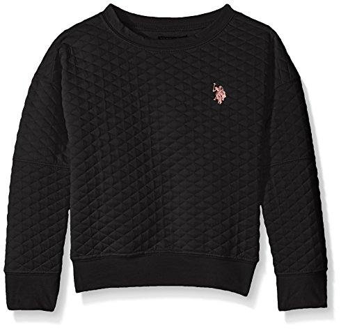 U.S. POLO ASSN. Little Girls' Quilted Jersey Dropped Armhole Banded Top, Black, 6X (Quilted Jersey)