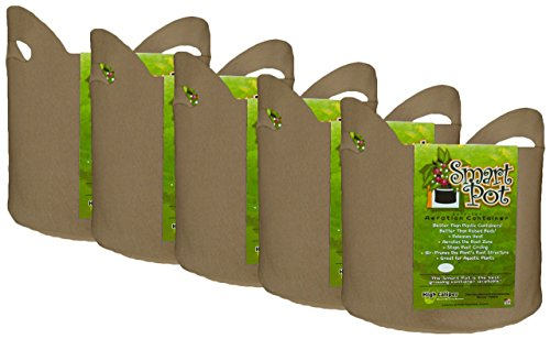 Smart Pot Soft-Sided Fabric Garden Plant Container Aeration Planter Pots Tan with Cut Handles, 7 gallon, 5 Pack
