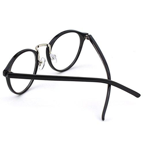 à métallique CN65 vintage Black à Lunettes verres Glossy inspirées pont CGID transparents d'écaille monture UV400 RA8ff4n