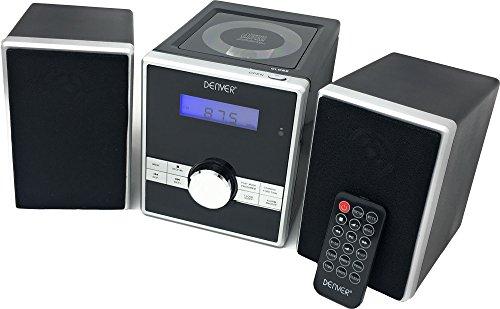 Denver MCA-230 Micro geluidssysteem met PLL-FM-radio, cd-speler en AUX-in, zwart/zilver