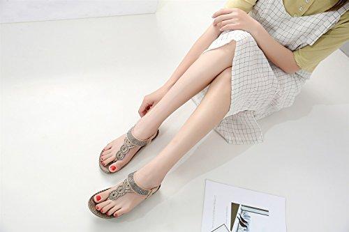 Shu Rhinestone Y Cadenas Con Bohemia Elegante Tamaño Femenina Gran Femeninas Moda Skoda Europa América Playa Xiaoqi Marrón Zapatos Pendiente Nueva Sandalias qvaZx7f