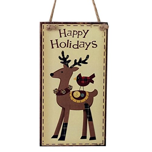 Aurorax Indoor and Outdoor Wood Holiday Christmas Hanging Door Decorations and Wall Signs, Winter Wonderland Decor, for Home, School, Office, Party Decorations (E)]()