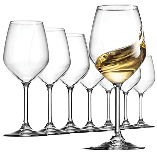 Bormioli Rocco Italian White Wine Glasses 14 Ounce Crystal Clear, Laser Cut Rim For Wine Tasting, Lead-Free Wine Cups, Elegant Party Drinking Glassware, Dishwasher Safe, Restaurant Quality (Set of 8)