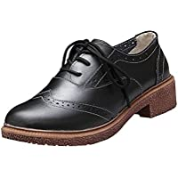 Women Oxford Shoes, Mosunx(TM) Retro Shoes With Thick (38(US:7), black)