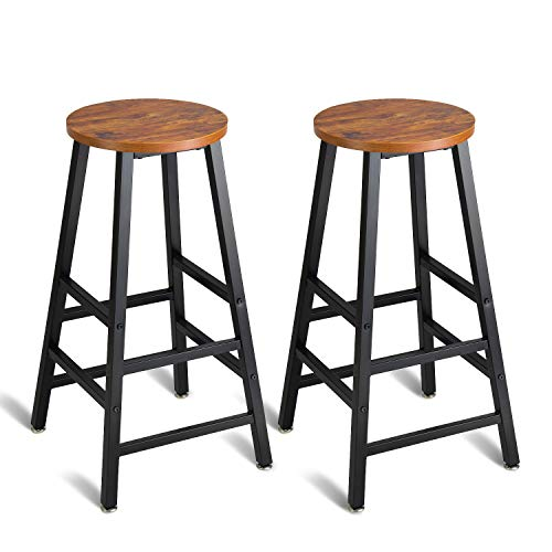 """Mr IRONSTONE Pub Height Bar Stools Set of 2, Rustic Brown Bar Stool, 27.7"""" Pub Dining Height Stools Bistro Vintage Table Chairs (Indoor USE ONLY)"""