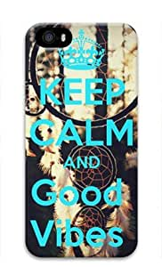 Keep Calm and Good Vibes Iphone 5 5S Hard Protective 3D Cover Case by Lilyshouse