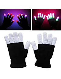 Novadeal LED Flashing Finger Glow Lighting Gloves Colorful Rave Gloves 7 Colors Light Show, Light-up Toys, For Concert/Dance Halls/Bars/Stage Performances