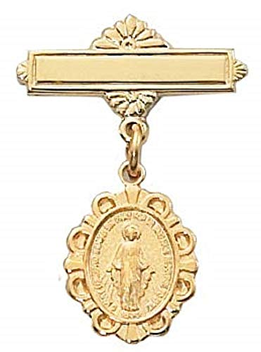 Hail Mary Gifts G/SS Miraculous Baby PIN, G/SS Miraculous Medal RF Baby BAR PIN Deluxe Gift Box Included